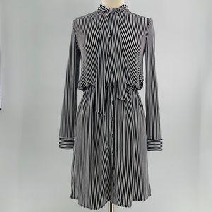 NWOT Ann Taylor Black & White Striped Dress | XS